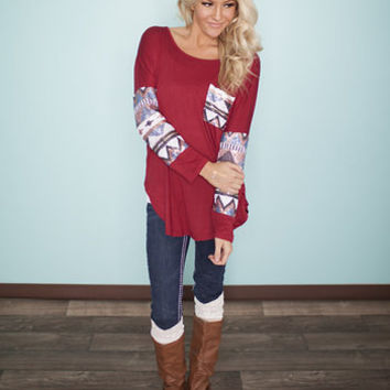 All Mine Sequins Top Burgundy