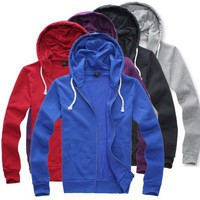 Full Zip Blue Slim Fit Casual Hoodie With Cap