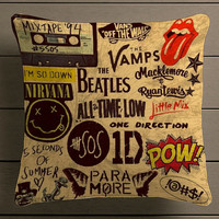 5sos one direction pow quote Square Pillow Case Custom Zippered Pillow Case one side and two side