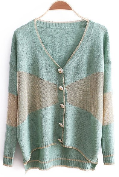 Light Green V-neck Long Sleeve Metallic Contrast Panel Cardigan - Sheinside.com