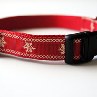 Red Christmas Star Dog Collar Adjustable Sizes (XS, S, M)