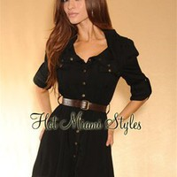 Black Button Front Belted 3/4 Sleeves Shirt-Dress