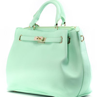 Mint Front Lock Shoulder Bag by Chic+ Green