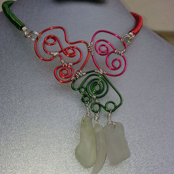 Sea Glass Statement Necklace, One Of A Kind, Artisan, Colorful, Mixed Media, Wire Wrapped SeaGlass, Beach Glass, Upcycled, Free Form Wire