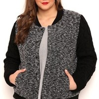Plus Size Wool Baseball Jacket with Cable Knit Sweater Sleeves