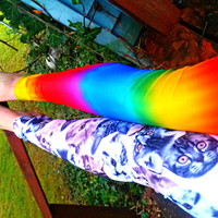 Rainbow Cat split leg Leggings pants lycra your size