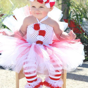 Beautiful Candy Cane Tutu Dress Peppermint Stick for Baby Girl 6-18 Months Old Baby Christmas First Christmas
