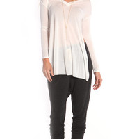 WHITE LONG SLEEVE TEE WITH SIDE SLITS