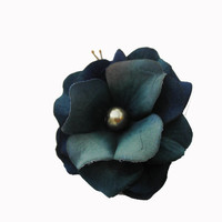 Teal Flower Hair Pin -- Blue Hydrangea Flower Hair Clip / Bobby Pin - Wedding Accessory