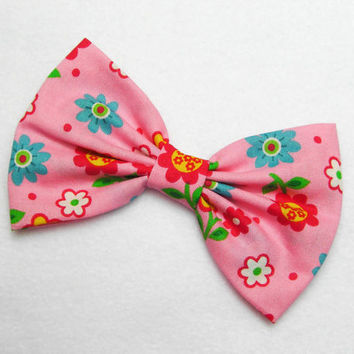 Pink Flower Bow Hair Clip tea party bow floral hair bow flower hair clip retro hair bow retro hair clip rockabilly hair bow girly hair bow