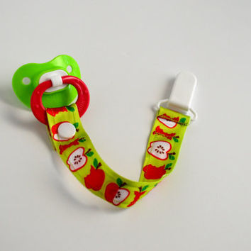 Green and Red Apple Pacifier Clip - NUK - MAM - White KAM - Ribbon