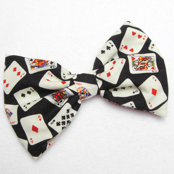 Playing Cards Bow hair clip Vegas bow deck of cards bow casino bow high roller black jack bow bachelorette party gift ideas for her bride