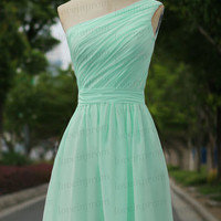 100% Handmade Pleat Chiffon Bridesmaid Dress,Mint Wedding Party Dress,One Shoulder Party Dress/Prom Dress/Mint Girls Dress