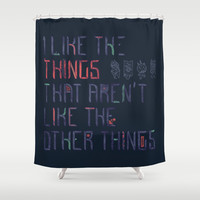 The Things I Like Shower Curtain by Hector Mansilla