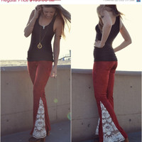 GIVE THANKS JUNO Bells /// Lux Divine Clothing /// Stretch Crushed Velvet & Vintage Crochet Bell Bottom Flare Pants