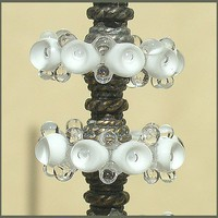 Handmade White Lampwork Glass Beads, Bubble  Glass Beads  Disc Spacers Set(6)