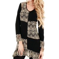 Lily Black & Beige Color Block Lace Scoop Neck Tunic | zulily