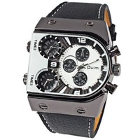 Oulm Ori-0465 Men Watch with 3-Movt Quartz White Special Unique Design Dial and Leather Band