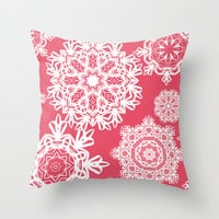 Flurries on Coral Throw Pillow by Lisa Argyropoulos