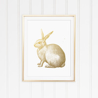 Faux Gold Foil Rabbit Art Print. Bunny Art Print. Chic Print. Trendy. Modern Home Decor. Minimalist Wall Art. Vintage Art. Office Art.