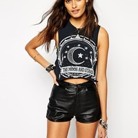 Rokoko Cropped Festival Vest Top With Star Moon Night Print
