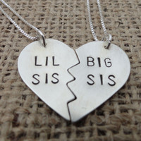 Sterling Silver &quot;Lil Sis, Big Sis&quot; Heart Necklace - Sterling Silver Sisters Necklace