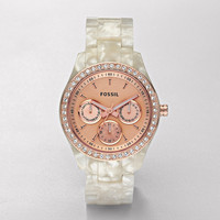FOSSIL Watch Collections Stella Watches:Women Stella Resin Watch - Pearlized White with Rose ES2887