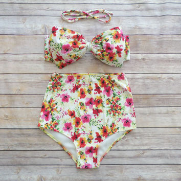 Bow Bandeau Bikini - Vintage Style High Waisted Pin-up Swimwear -  Beautiful Pink Watercolour Floral Print - Unique & So Cute!