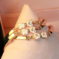 Full Rhinestone Bow Golden Bangle