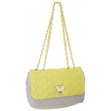 Betsey Johnson Yellow & Grey Be My One And Only Quilted Flapover Satchel Bag