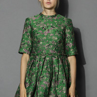 Retro Embossed Dolly Dress in Green Green