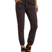 Sash-Belted Geo Print Jogger Pants by Charlotte Russe - Black Combo
