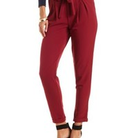 Sash-Tied High-Waisted Trousers by Charlotte Russe - Wine
