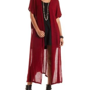 Oversized Open Back Duster Cardigan by Charlotte Russe - Burgundy