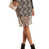Two-Tone Lace Midi Skirt by Charlotte Russe - Black Combo