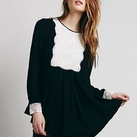 Free People Womens Lace Bib Pullover