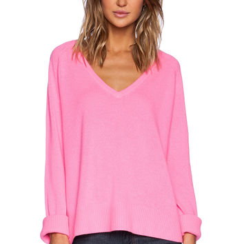 Line Chase V Neck Sweater in Pink