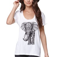 Riot Society Ornate Elephant T-Shirt - Womens Tee - White