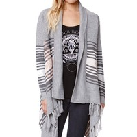 LA Hearts Drape Front Fringe Cardigan - Womens Sweater