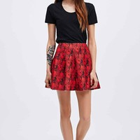 Textile Federation Ciba Pleated Skirt in Red - Urban Outfitters