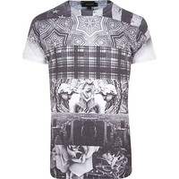 River Island MensWhite spliced print crew neck t-shirt