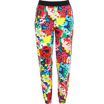 River Island Womens Multicolored floral print joggers