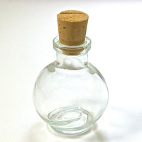 5 Small Round Glass Bottles with Corks