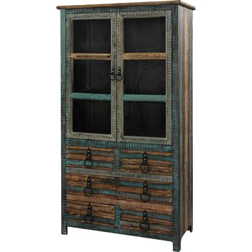 Calypso High Cabinet Glass Doors Distressed Painted Fir Wood