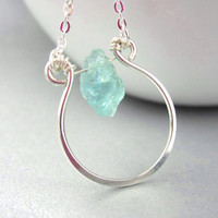 Sterling silver horseshoe necklace with raw blue apatite stone, blue gemstone pendant
