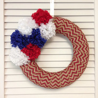 FREE SHIPPING! Modern Patriotic Wreath, Red Chevron Burlap Patriotic Wreath, Fourth of July Wreath, Red White Blue Decor, Chevron Wreath