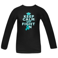 Keep Calm and Fight On Peritoneal Cancer awareness Women's Long Sleeve T-Shirts