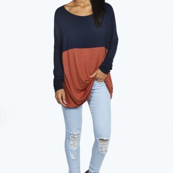 Edith Contrast Panel Batwing Top