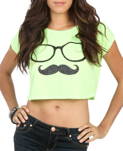 Nerdy Stache Crop Tee | Shop Tops at Wet Seal