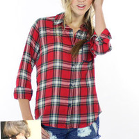 Rails Dana Shirt in Red/Ivory Plaid | Rails Dana Button Down Shirt Taylor Swift